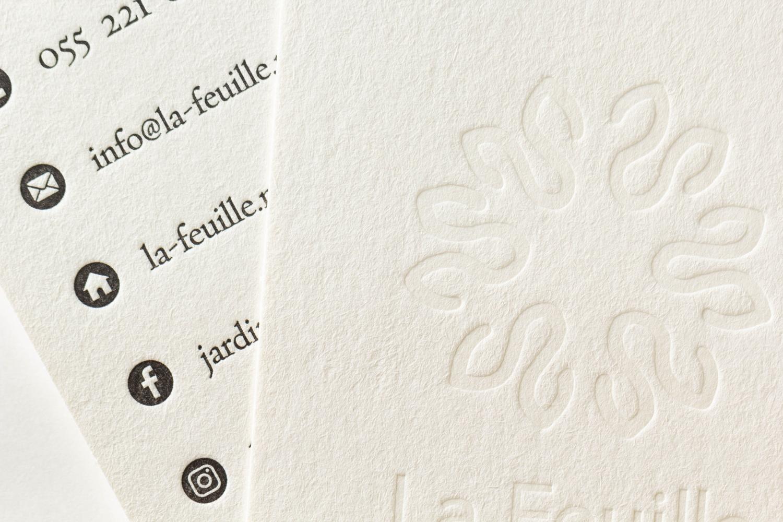 メジュームインキとスミの両面活版名刺 アトリエ ド ラフィーユ